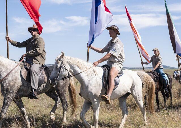 Bóeres con banderas nacionales (imagen referencial)