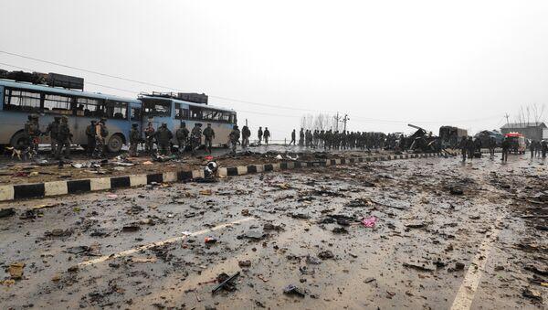 El lugar del atentado en Cachemira, la India - Sputnik Mundo