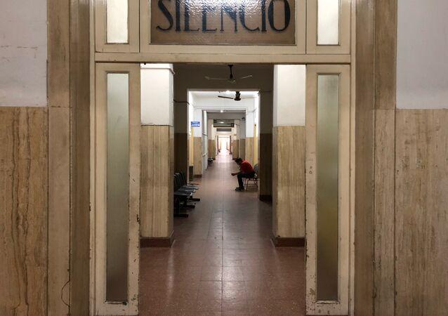 Un pasillo del hospital Eva Perón, en San Martín, provincia de Buenos Aires