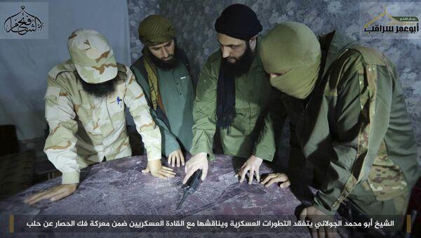 El líder terrorista Abu Mohamad Golani (tercero de izquierda a derecha) - Sputnik Mundo