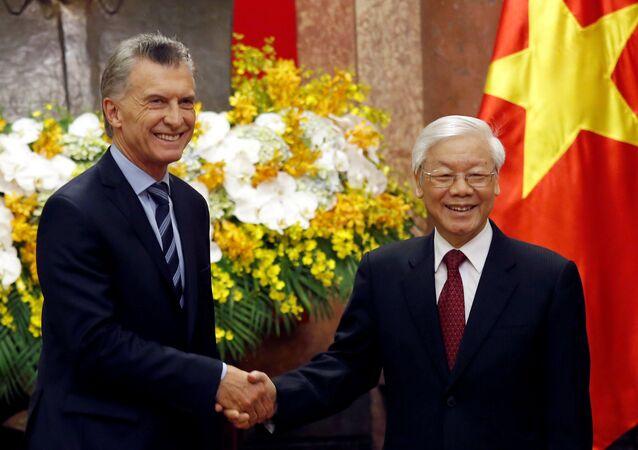 El presidente de Argentina, Mauricio Macri, y su par de Vietnam, Nguyen Phu Trong