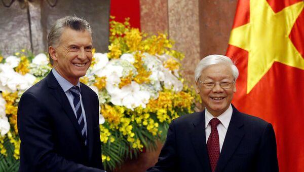 El presidente de Argentina, Mauricio Macri, y su par de Vietnam, Nguyen Phu Trong - Sputnik Mundo