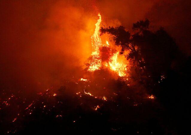 Un incendio forestal se ve dentro del parque metropolitano llamado cerro San Cristóbal en el centro de la ciudad de Santiago