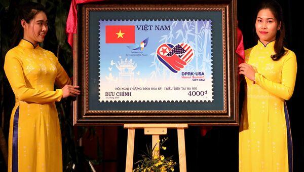 Sello postal emitido por Vietnam en honor a la segunda cumbre de EEUU y Corea del Norte en Hanói - Sputnik Mundo
