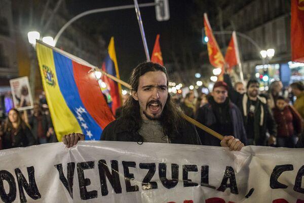 La manifestación en Madrid a favor de Maduro - Sputnik Mundo