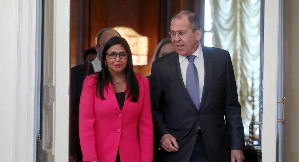 Vicepresidenta de Venezuela, Delcy Rodríguez, y canciller de Rusia, Serguéi Lavrov