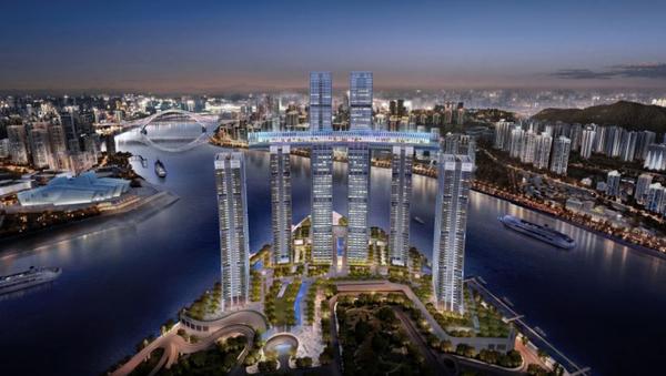 El rascacielos horizontal que China construye sobre otros cuatro rascacielos en la ciudad de Chongqing - Sputnik Mundo
