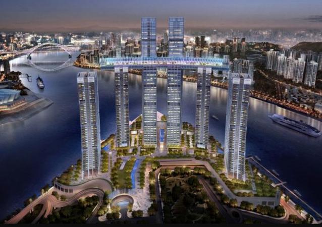 El rascacielos horizontal que China construye sobre otros cuatro rascacielos en la ciudad de Chongqing