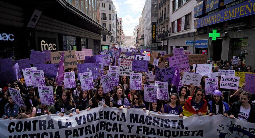 La huelga feminista en Madrid, España