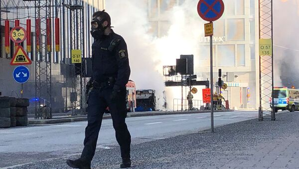 Lugar de la explosión de un autobús en Estocolmo, Suecia - Sputnik Mundo