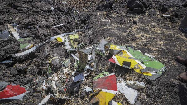 Обломки на месте крушения самолета авиакомпании Ethiopian Airlines - Sputnik Mundo
