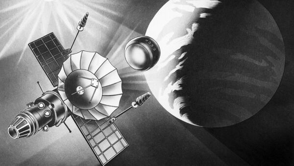 Ilustración de la estación interplanetaria automática soviética Venera-9 y su vehículo de descenso - Sputnik Mundo