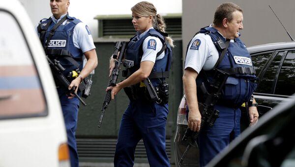 Patrulla policial tras el ataque a mezquitas de Christchurch (Nueva Zelanda) - Sputnik Mundo