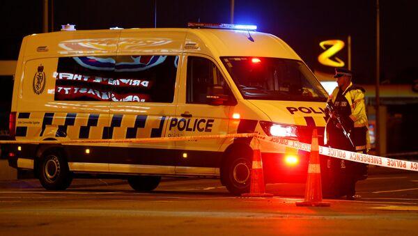 Policía en el lugar del tiroteo registrado en Christchurch, Nueva Zelanda. - Sputnik Mundo