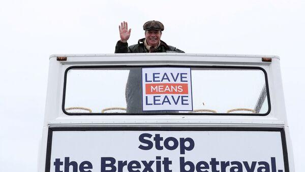 El eurodiputado británico, Nigel Farage, encabeza la Marcha para salir - Sputnik Mundo