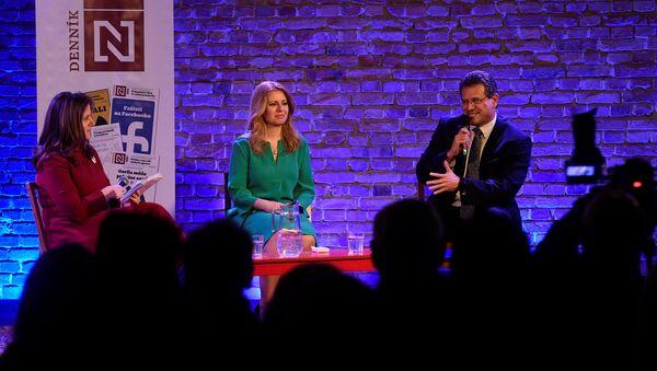 Zuzana Caputová y Maros Sefcovic, candidatos presidenciales de Eslovaquia - Sputnik Mundo