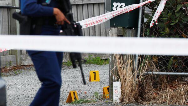 La policía en el lugar del tiroteo en Nueva Zelanda - Sputnik Mundo