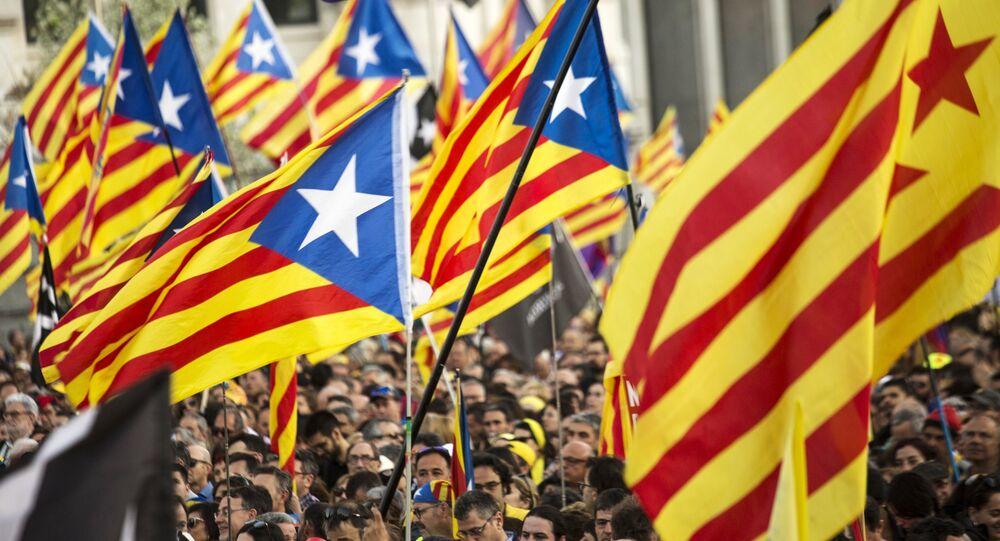 Una protesta a favor de independencia de Cataluña (archivo)