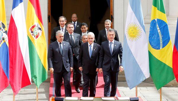 Sebastián Piñera, presidente de Chile junto a los mandatarios y representantes del bloque Prosur - Sputnik Mundo
