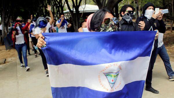 Los manifestantes en en Nicaragua (Archivo) - Sputnik Mundo