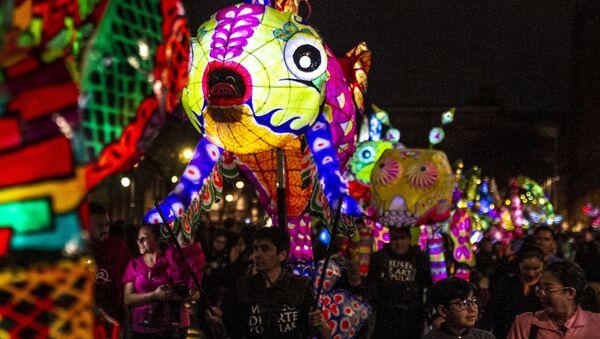 Desfile de alebrijes iluminados en el Zócalo de Ciudad de México - Sputnik Mundo