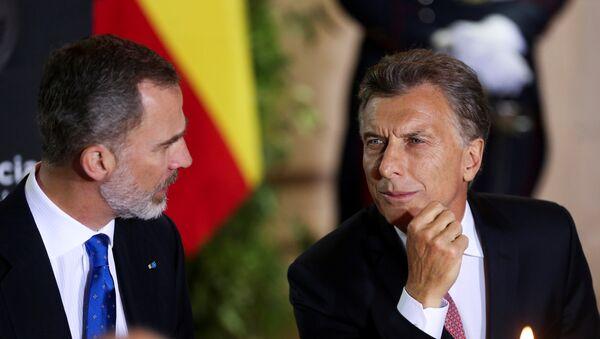 El rey de España, Felipe VI, y el presidente de Argentina, Mauricio Macri - Sputnik Mundo