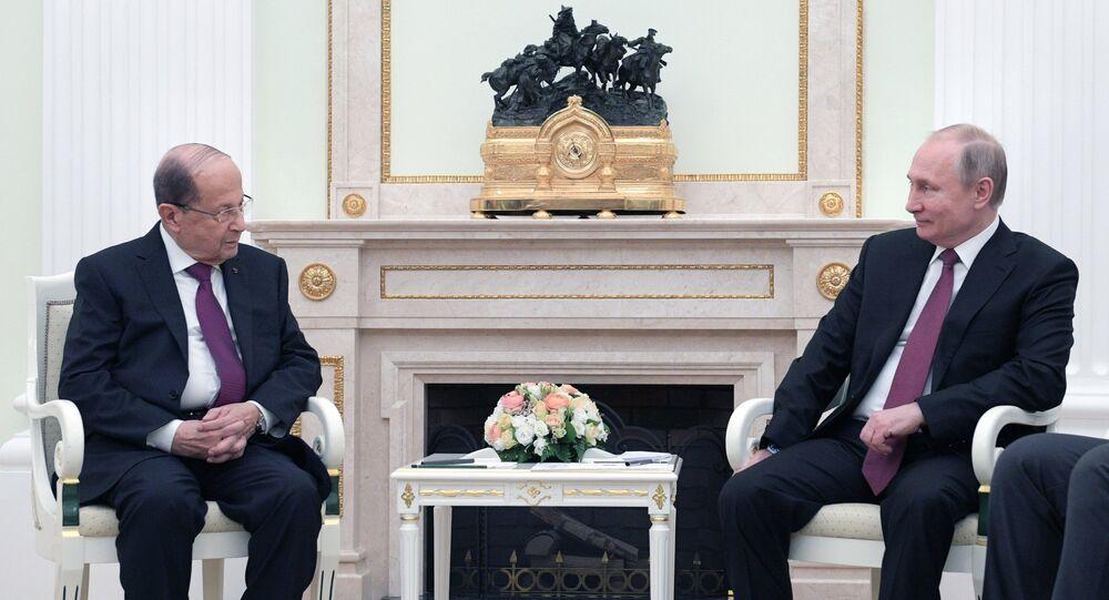 El presidente de Rusia, Vladímir Putin y el presidente libanés, Michel Aoun