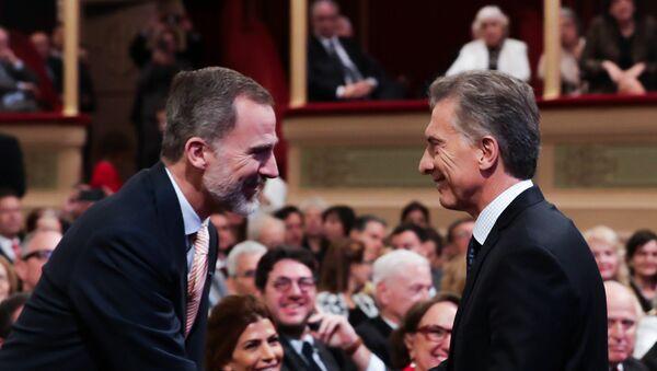 Felipe VI, rey de España y Mauricio Macri, presidente de Argentina, en la apertura del Congreso Internacional de la Lengua Española - Sputnik Mundo