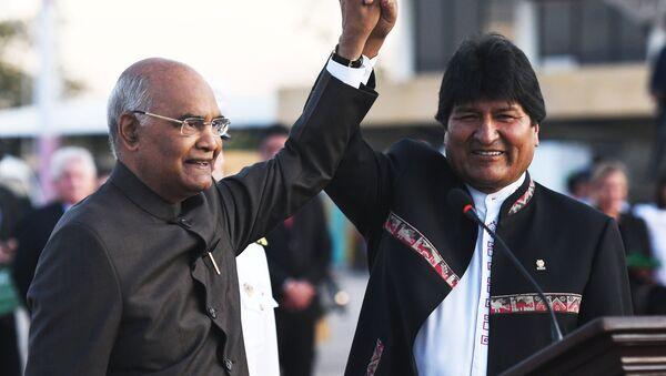 Ram Nath Kovind, presidente de la India, y Evo Morales, presidente de Bolivia - Sputnik Mundo