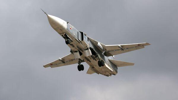 Фронтовой бомбардировщик Су-24М во время окружного этапа конкурса Авиадартс-2019 в Краснодарском крае - Sputnik Mundo