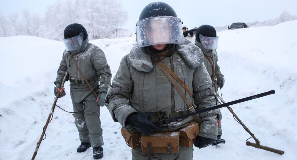 Zapadores rusos, foto de archivo