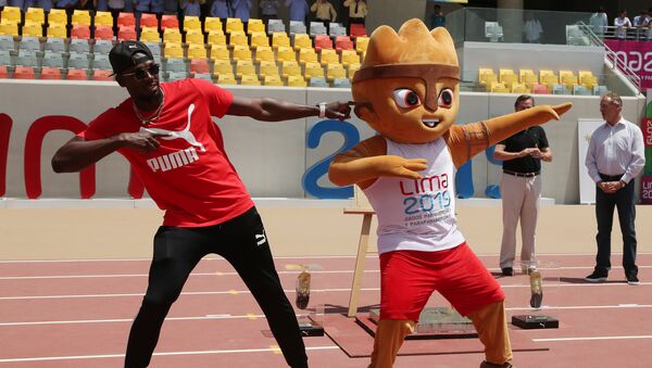 Usain Bolt, campeón olímpico de atletismo, en el Estadio Atlético de la Villa Deportiva Nacional - Sputnik Mundo