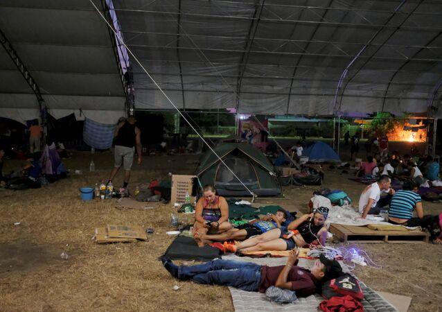 Migrantes centroamericanos en Mapastepec, Chiapas, México