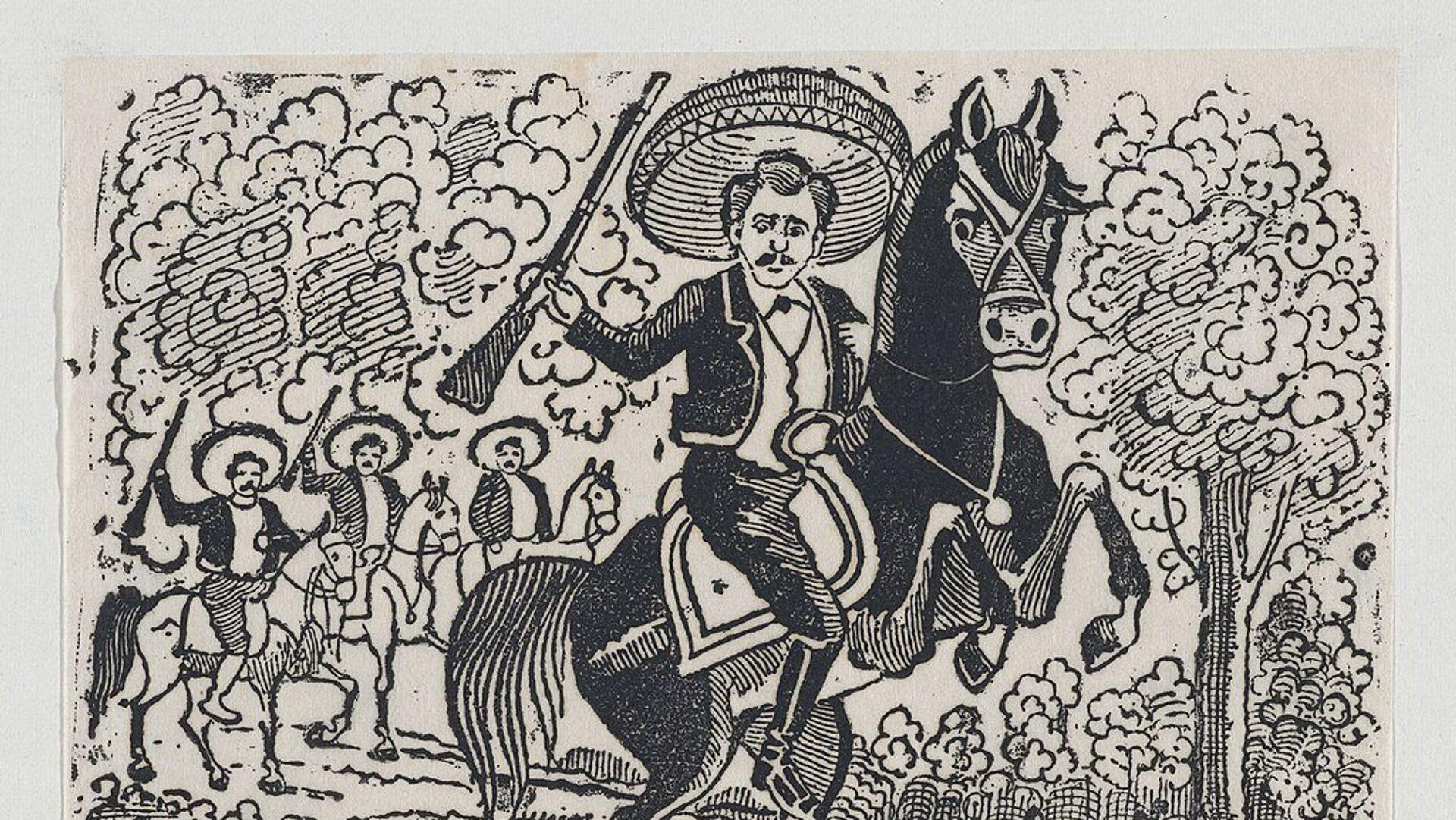 Emiliano Zapata a caballo, representación de una escena de la Revolución Mexicana - Sputnik Mundo, 1920, 10.04.2019