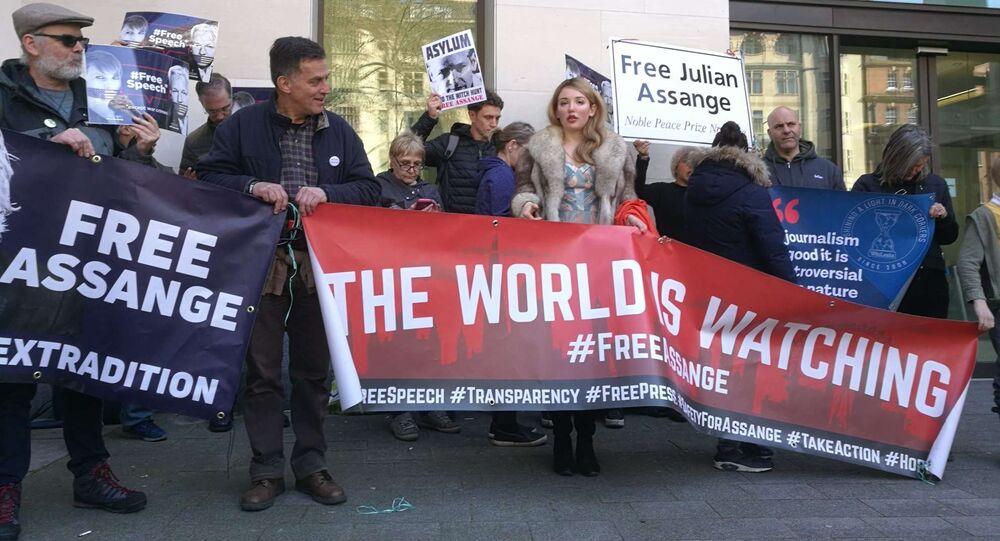 Situación cerca de la Corte de Magistrados de Westminster tras el arresto de Assange (archivo)