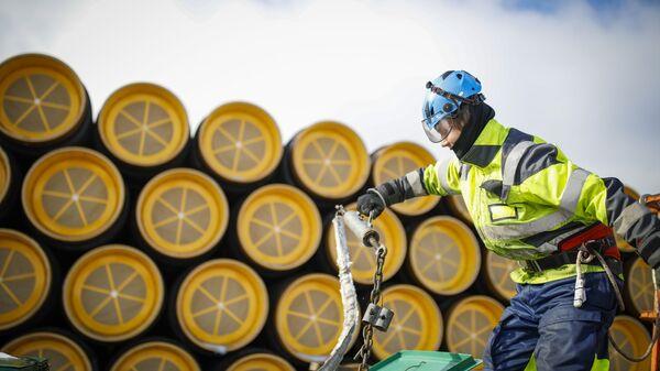 La construcción del gasoducto Nord Stream 2 (archivo) - Sputnik Mundo