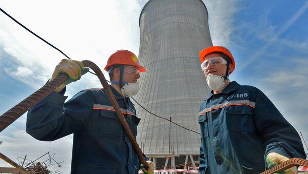 Construcción de la Central nuclear de Bielorrusia (archivo) - Sputnik Mundo