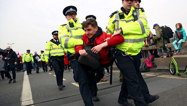 La Policía británica diene a los manifestantes por violar las normativas del orden público durante protestas ecologistas en Londres - Sputnik Mundo