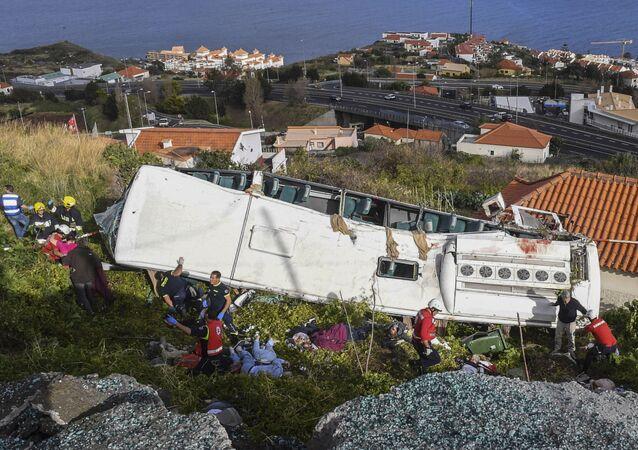 Las imágenes del autobús siniestrado en Portugal