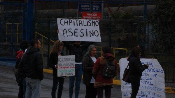 Manifestación en Ventanas, Valparaíso, Chile, contra las empresas contaminantes instaladas en el lugar - Sputnik Mundo