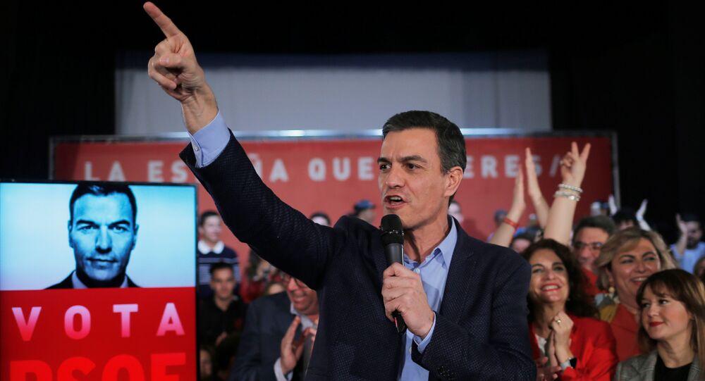 Pedro Sánchez, presidente del Gobierno de España en la campaña electoral