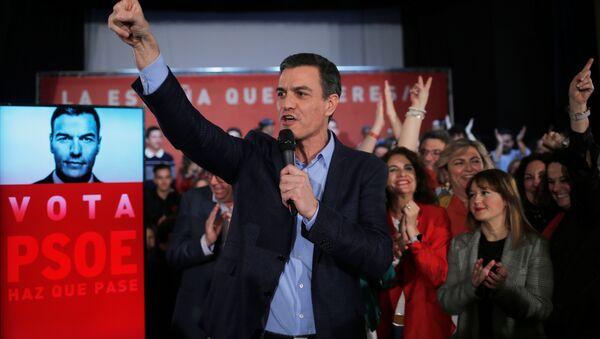 Pedro Sánchez, presidente del Gobierno de España en la campaña electoral - Sputnik Mundo