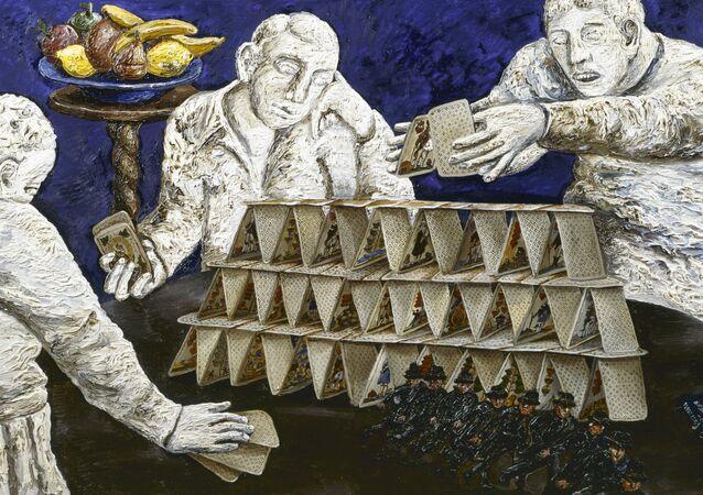 El cuadro 'Casa de naipes plegable' de Natalia Nésterova