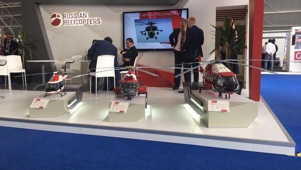 Miniaturas de modelos producidos por Helicópteros de Rusia, en exhibición en FAMEX 2019 - Sputnik Mundo