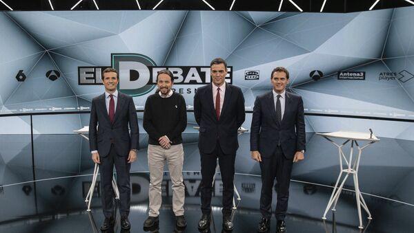 De izquierda a derecha, Pablo Casado, Pablo Iglesias, Pedro Sánchez y Albert Rivera, los principales líderes políticos españoles - Sputnik Mundo