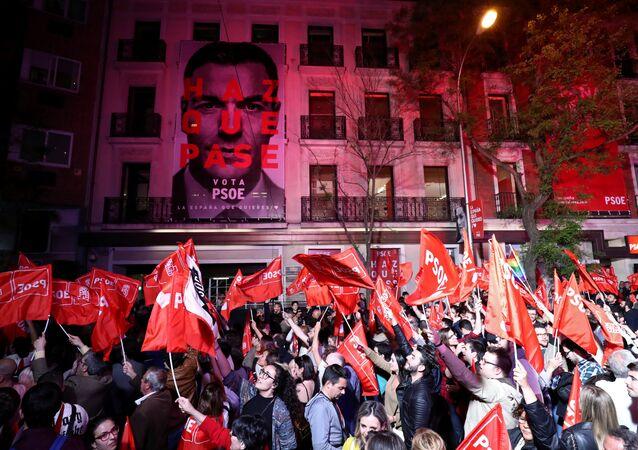 La sede de los socialistas tras su victoria en las elecciones generales de España