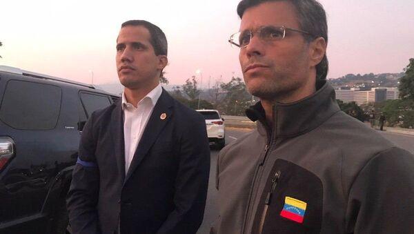 Los opositores venezolanos Juan Guaidó y Leopoldo López - Sputnik Mundo