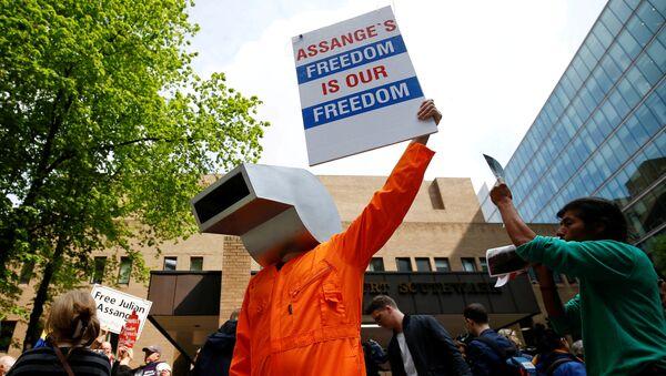 Protestas a favor del fundador de WikiLeaks, Julian Assange - Sputnik Mundo