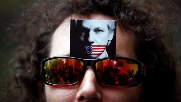 Un manifestante lleva una foto de Julian Assange en sus gafas de sol - Sputnik Mundo