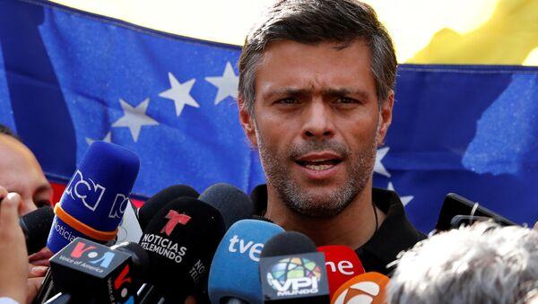 El líder opositor venezolano, Leopoldo López, en la Embajada de España - Sputnik Mundo